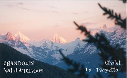 Vue Chalet Tsayetta - A louer Anniviers